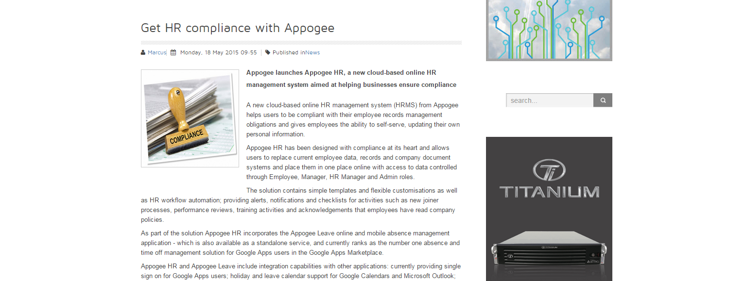 Cloud Computing Intelligence - Get HR compliance with Appogee