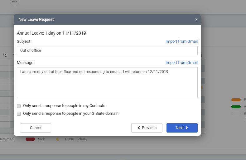 Appogee HR automatic out of office screenshot